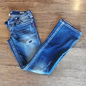 Silver Jeans Pioneer Bootcut Distressed Jeans 27